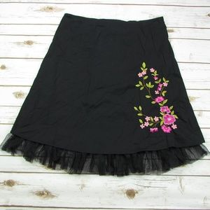 Fashion Bug Floral Embroidery A Line Skirt Tulle